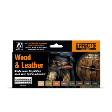 Vallejo Model Colour Wood & Leather Paint Set
